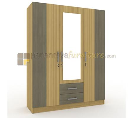 Lemari Pakaian 3 Pintu Cermin 2 Laci UNO Living LP3C OMEGA