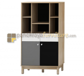 Panen Raya MELODY AERO TALL CABINET (SONOMA OAK LIGHT - WHITE BLACK GREY)
