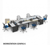 Panen Raya MEJA KANTOR MODERA WORKSTATION CONFIG 6 SEATER OFFICE DESK + LACI GREY 430x140