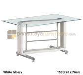 Panen Raya MEJA MAKAN SIANTANO DT OKINAWA 150 (White Glossy) 150x90