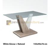 Panen Raya MEJA MAKAN SIANTANO DT VENEZIA (White Glossy-Natural) 150x90