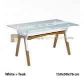 Panen Raya MEJA MAKAN SIANTANO DT OTTAWA (White-Teak) 150x90